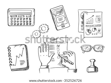 Business and office sketch icons with businessman completing a check list surrounded by analytical charts, calendar, hand stamp, eyeglasses, notebook, calculator and tablet