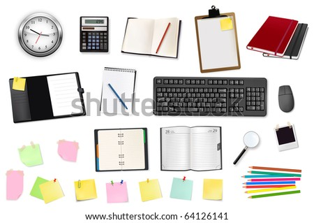 Business and office supplies. Vector. - stock vector
