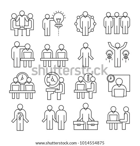 business and organization management icons, line theme #1014554875