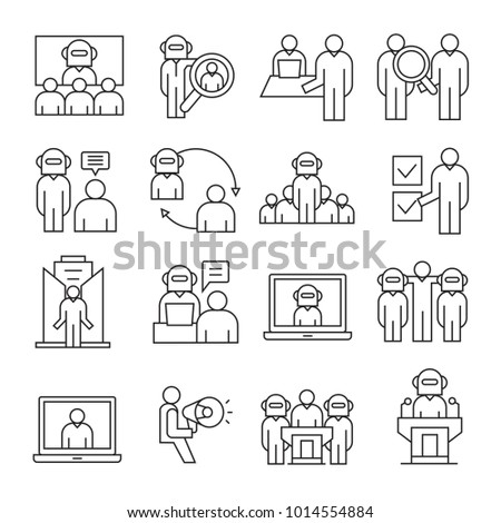 business and organization management icons, line theme #1014554884