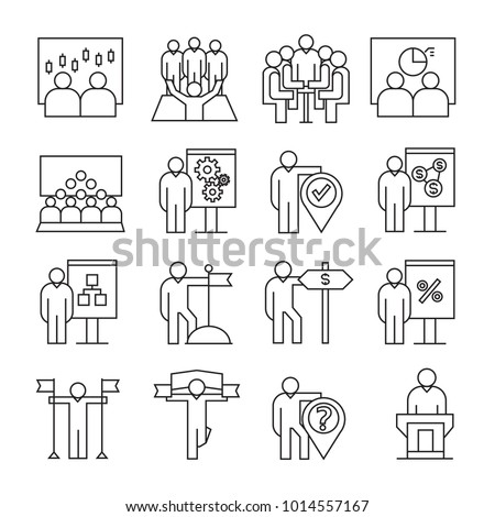 business and organization management icons, line theme #1014557167