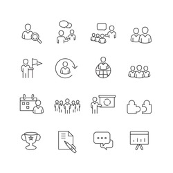 Business and people icons set,Vector