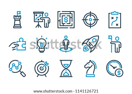 Business and strategy related line icon set. Vector linear icon set