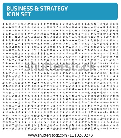 Business and strategy vector icon set