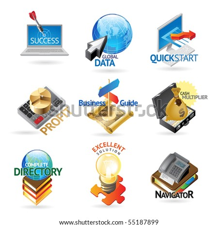 Business and technology icons. Heading concepts for document, article or website. Vector illustration.