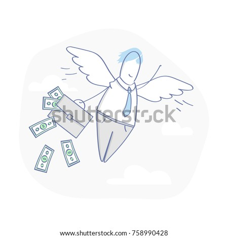 Business angel, angel investor. Cute outline business character with wings and suitcase full of money. Flat outline vector illustration in light modern design style.