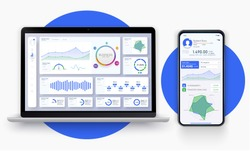 Business app UI/UX with graph and analytics. Web page banner for presentation. Business infographic template. Big data concept Dashboard user admin panel template design. Analytics admin dashboard.