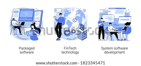 Business applications abstract concept vector illustration set. Packaged software, FinTech technology, system software development, payment processing, database system integration abstract metaphor.