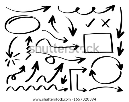 Business arrows hand drawn vector collection, Business icon set. Arrow sign.