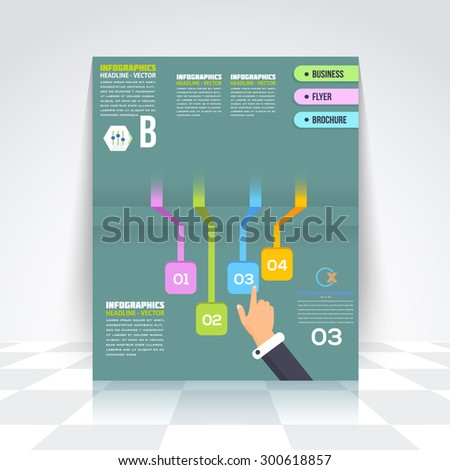 Business Arrows Infographics Design Brochure, Cover, Flyer. Flat Style Numbered Banner