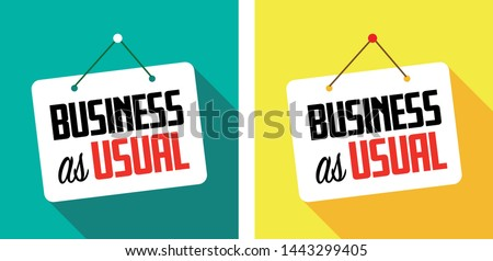 Business as usual on hanging door sign Foto d'archivio ©