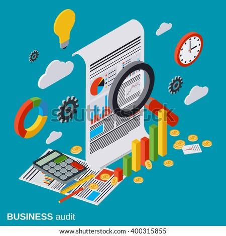 Business audit, financial analytics, statistics flat isometric vector concept. Modern web infographic illustration