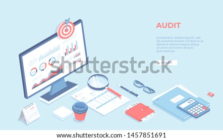 Business auditing, analysis, accounting, calculation, analytics. Monitor with charts graphs, documents, wallet, calculator, magnifying glass. Workplace Workspace Desktop. Isometric 3d illustration. Stock foto ©
