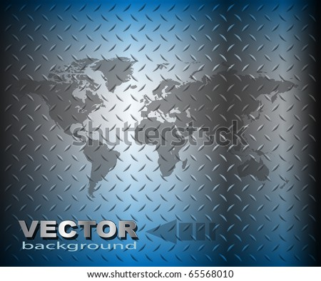 Business background, blue diamond plate with world map, vector - stock vector