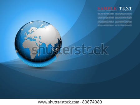 Business background blue with earth planet, vector