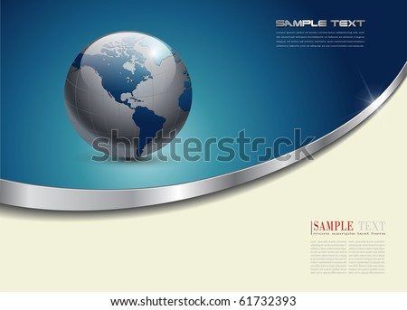Business background blue with planet earth, vector.