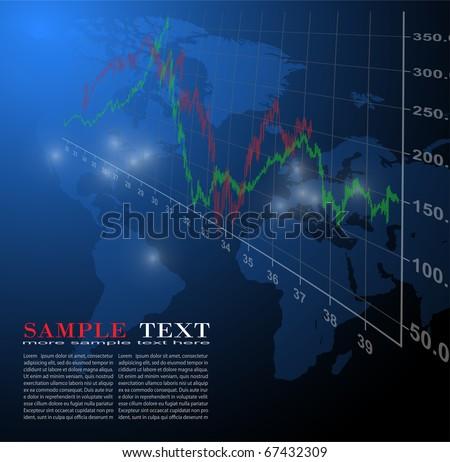 Business background global market, vector illustration.