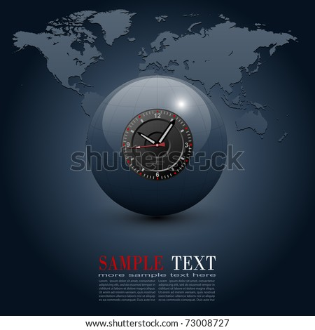 Business background, globe with clock over world map, vector.