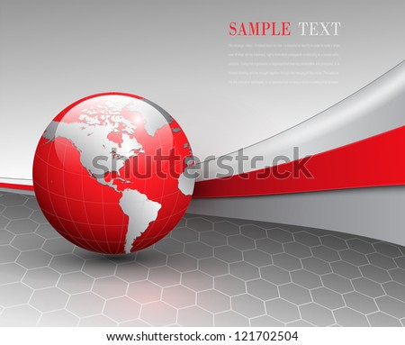 Business background, grey with red world globe, vector.