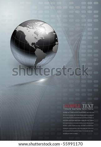 business background, grey with world globe, vector.