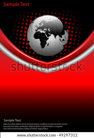 business  background red and black with world globe, vector.