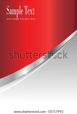 Business background silver metallic and red, vector.