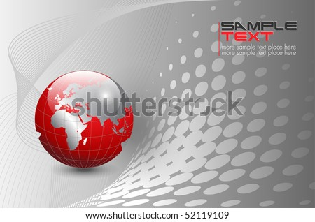 business background, silver with red world globe, vector.