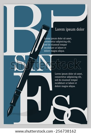 Business background, typographics. Letters on a blue and black background
