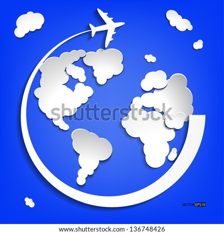Business background with earth globe from clouds and airplane.