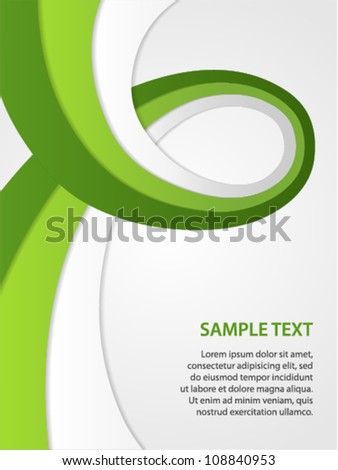 business background with green and white ribbon