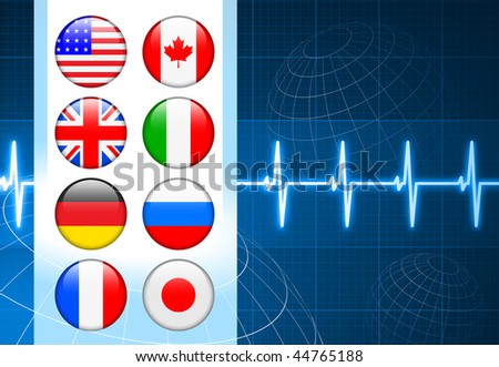 Business Background with Internet Flag Buttons Original Vector Illustration