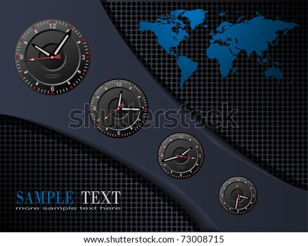 Business background with time zones, vector.