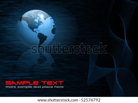 Business background with world globe dark blue, EPS10