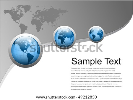 Business background with world globes, grey and blue, vector illustration.