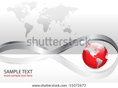 Business background with world map and red earth globe, silver metallic, vector illustration.
