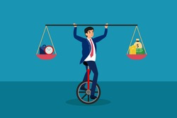 Business balance vector concept: Businessman balancing on unicycle while holding equilibrium between briefcase with clock and money