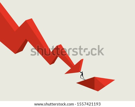 Business bankruptcy and default vector concept with businessman falling into hole. Recession, crisis symbol. Economic depression sign. Eps10 illustration. Stock photo ©
