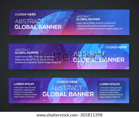 business banner set globe on a