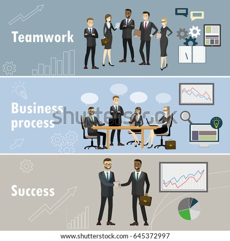 Business banner,Three themes - teamwork, business team, success.Cartoon vector illustration