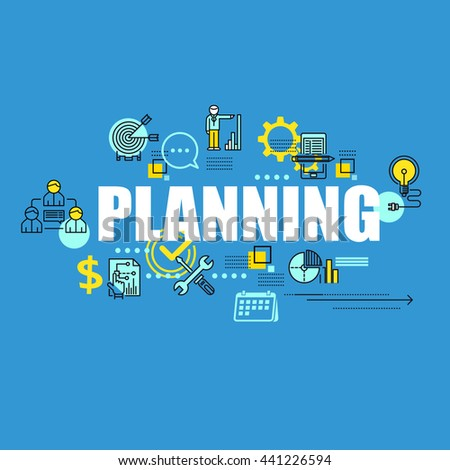 Business banner with planning inscription and thin line icons, flat elements