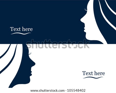 Business banners with beautiful woman silhouette