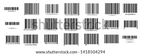 Business barcodes vector set. Black striped code for digital identification. Barcode label set vector.  A modern simple flat barcode. Marketing, the concept of the Internet.
