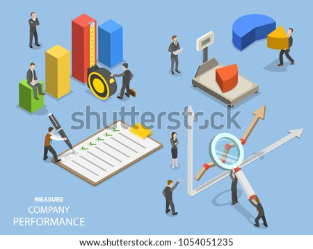 Business benchmarking flat isometric vector. Group of people are measuring company performance.