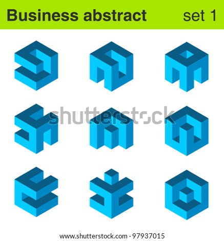 Business blue vector logo template set. Logic icon