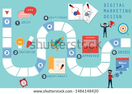 Business board game concept, Board games is explaining  with digital market design - vector  Illustration Business Concepts, Business, board game, infographic, digital marketing