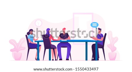 Business Board Meeting of Director and Employees in Office. Businesspeople around Table Planing Start Up Project and Solving Finance Problems. Brainstorming Group. Cartoon Flat Vector Illustration
