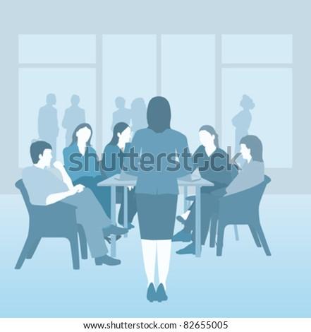 Business, board room or school meeting, blue vector