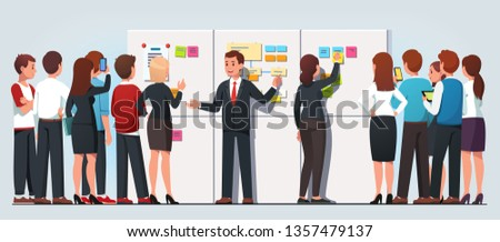 Business boss man explaining company strategy showing sticky notes diagrams on whiteboard to staff. Students people crowd listening to business coach on meeting. Flat vector character illustration