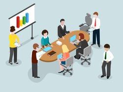 Business brainstorming 3d concept. Close team concept. Vector illustration.
