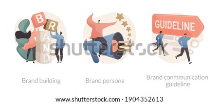 Business branding abstract concept vector illustration set. Brand building, brand persona and communication guideline, communication strategy, target marketing, visual identity abstract metaphor.